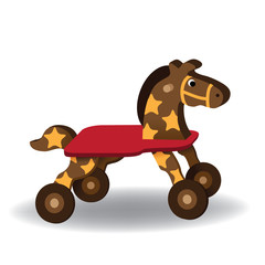 Hobby horse illustration. Wooden children's toy with wheels. EPS 10 vector.