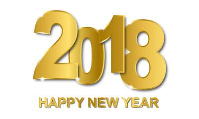 Silvester - Happy New Year Grußkarte (in Gold/ Weiß)