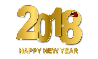 Silvester - Happy New Year Grußkarte (Gold/ Weiß)
