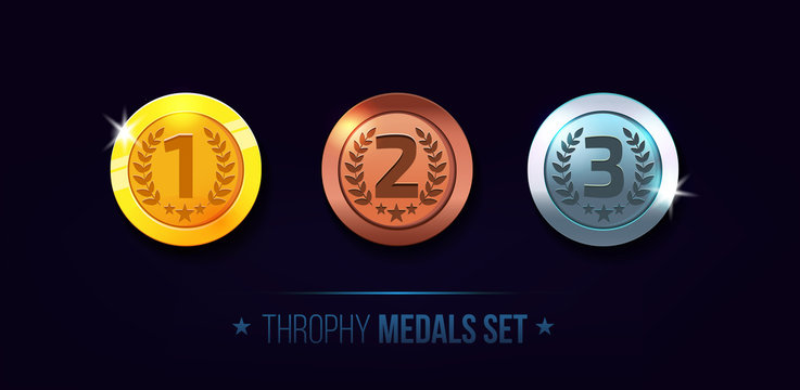 Trophy medals set design for game. Level results vector illustration isolated on white background