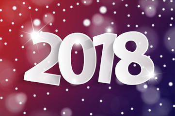 Red and violet Happy New Year 2018 greeting card concept with paper cuted white numbers. Vector illustration