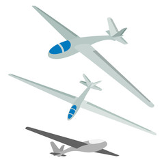 Vector illustration of a glider on a white background.  Set of aircraft