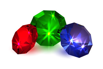 Gems. Illustration of colored diamonds on a white background. Jewelry. Vector illustration