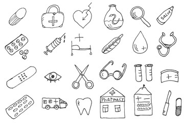 Medical icons doodle vector