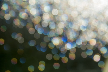 Blurred reflections of sunlight through glass