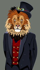 Portrait of lion in the men's business suit and hat