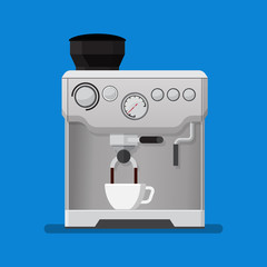 Coffee machine vector illustration in flat style.