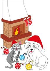 Buon Natale cane e gatto con caminetto