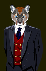 Portrait of puma in the men's business suit