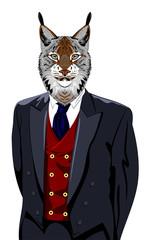 Portrait of lynx in the men's business suit