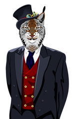 Portrait of lynx in the men's business suit and hat