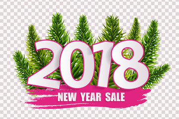 Pink New Year sale 2018 concept isolated on transparent background. Vector illustration