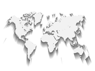 White Vector Map of World. Modern flat design with dropped long shadow isolated on green background.
