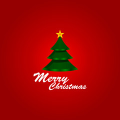 Merry Christmas text and green tree vector background