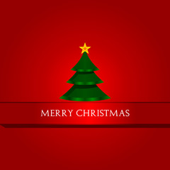 Merry Christmas text and green tree vector background illustration