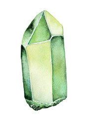 Watercolor Green Gemstone drawing. One single object. Long square, rectangle stick geometric shape. Bright, clean, clear, realistic. Hand painted water color illustration, isolated, white background.