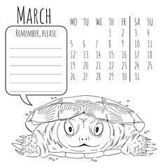 Calendar reminder with cute graphic turtle in vector 2018