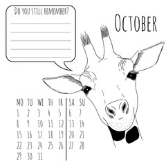 Calendar reminder with cute graphic giraffe in vector 2018
