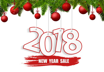 New Year Sale 2018 banner with red Christmas balls. Vector illustration
