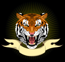 Portrait of a growling tiger on a banner background