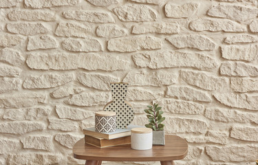 home ornament and brick wall concept style