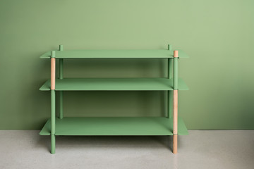 Metal green stand with wooden parts