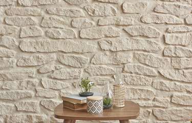 wooden coffee table brick wall style