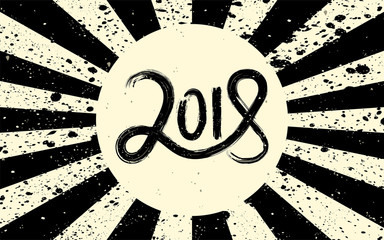 New Year 2018 hand drawn lettering on black and cream retro grunge background with rays. Vector illustration