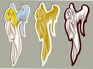 A set of praying angels with folded palms