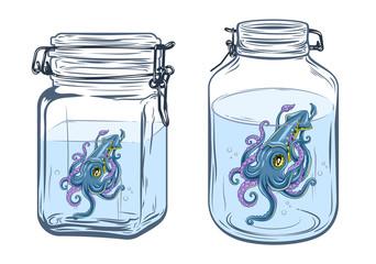 Squid in a glass jar