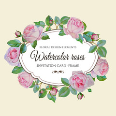 Vector floral frame with watercolor pink roses. Invitation card with wreath of hand drawn watercolor flowers