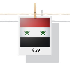 Asian country flag collection with photo of Syria flag , vector , illustration