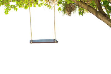 Swing hang on tree isolated on white background