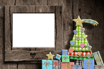 Christmas empty photo frame greeting card