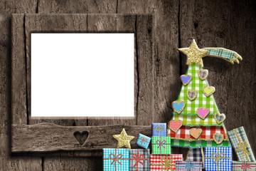 Christmas empty photo frame greeting card