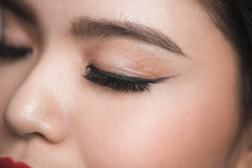 Elegance close-up of beautiful female eye with fashion eye shadow and eyeliner.