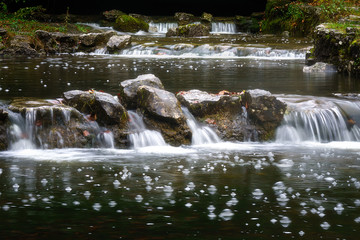 water spring in nature with a stream and waterfalls
