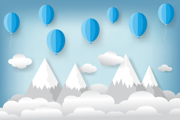 blue balloons on the hill mountain with clouds and blue sky travel background as freedom, paper art and craft style concept. vector illustration.