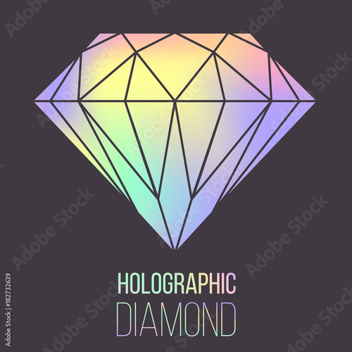 Vector holographic gradient diamond stone isolated on transparent ...
