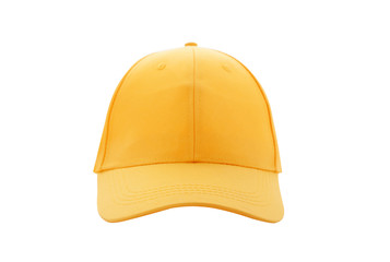 Baseball cap yellow templates, front views isolated on white background