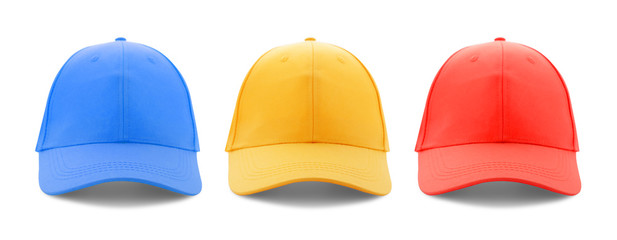 Baseball cap red, yellow and blue templates, front views isolated on white background