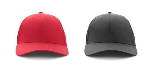 Baseball cap red and black templates, front views isolated on white background