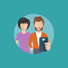 Young people taking selfie. Taking self photo concept. Social media and technology concept. Flat vector illustration