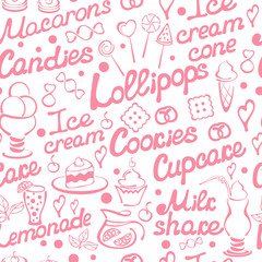 Seamless pattern with vector pink pastry elements. On white background. Situable for wallpaper, wrapping  or textile. EPS10