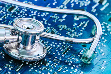 Health and Technology Stethoscope on Circuit Board