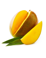 Ripe mango with leaves on white background