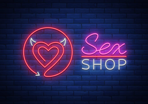 Sex Pattern Logo, Sexy xxx concept for adults in neon style. Neon sign, design element, storage, prints, facades, window signs, digital projects. Intimate store. Bright night sign advertising. Vector