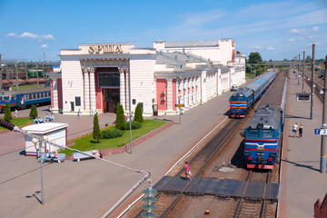 Railway station in Orsha on sunny summer day, Belarus