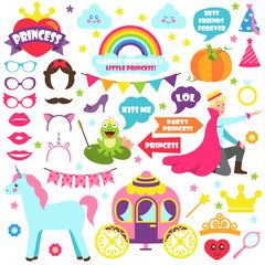 Fairy Tale Carnaval Icons Vector Illustration Set