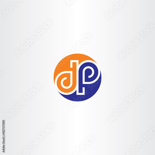 Vector D And P Letter Logo Icon Circle Symbol Stock Image And